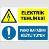 ZY2242 - ISO 7010 Elektrik Tehlikesi, Pano Kapağını Kilitli Tutun