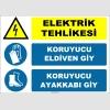 ZY2264 - ISO 7010 Elektrik Tehlikesi, Koruyucu Eldiven Giy, Koruyucu Ayakkabı Giy