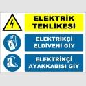 ZY2268 - Elektrik Tehlikesi, Elektrikçi Eldiveni Giy, Elektrikçi Ayakkabısı Giy