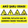 ZY2292 - ISO 7010 Akü Şarj Odası, Elektrik, Patlayıcı Gaz ve Aşındırıcı Madde Tehlikeleri