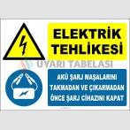 ZY2323 - Elektrik Tehlikesi,  Akü Şarj Maşalarını Takmadan veya Çıkarmadan Önce Şarj Cihazını Kapat