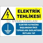 ZY2338 - ISO 7010 Elektrik Tehlikesi, Elektrik Kaynağına Başlamadan Önce Topraklama Bağlantısını Mutlaka Yap