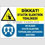 ZY2342 - Dikkat! Statik Elektrik Tehlikesi, İki Elinizi Statik Elektrik Topraklama Levhasına Bastırın