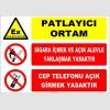 ZY2507 - Patlayıcı Ortam, Sigara İçmek ve Açık Alevle Yaklaşmak Yasaktır, Cep Telefonu Açık Girmek Yasaktır