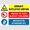 ZY2517 - Dikkat! Patlayıcı Ortam, Sigara ve Açık Alevle Yaklaşma, Antistatik Ayakkabı Giy