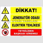 ZY2494 - Dikkat! Jeneratör Odası, Elektrik Tehlikesi, Yetkiliden Başkası Giremez