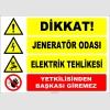 ZY2489 - Dikkat! Jeneratör Odası, Elektrik Tehlikesi, Yetkilisinden Başkası Giremez
