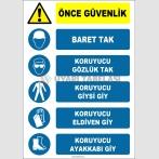 EF1146 - Önce Güvenlik, Baret Tak, Koruyucu Gözlük, Giysi, Eldiven, Ayakkabı Giy