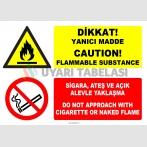 EF1198 - Türkçe İngilizce Dikkat Yanıcı Madde, Sigara, Ateş ve Açık Alevle Yaklaşma