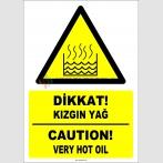 EF1239 - Türkçe İngilizce Dikkat! Kızgın Yağ, Caution! Very Hot Oil
