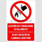 EF1323 - Türkçe İngilizce Alevlenir Sıvı Madde Yangınlarında Su Kullanmayın, Do Not Use Water On Metal Fires